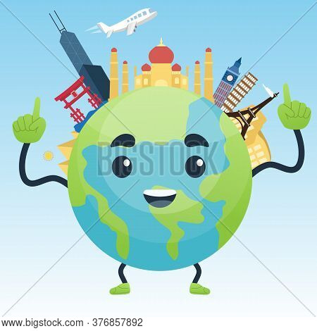 Happy Explore The World With Famous Architectural Landmarks. Travel After Covid-19 Or Coronavirus Pa