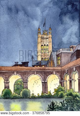 Westminster Abbey Courtyard And Parliament Tower, London, Uk, Watercolor Drawing, Travel Sketch