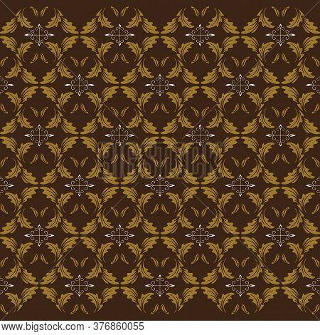 The Unique Flower Motifs On Central Java Batik Design With Green Strip Color Design