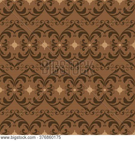 Simple Flower Motifs On Parang Batik Design With Dark Brown Color