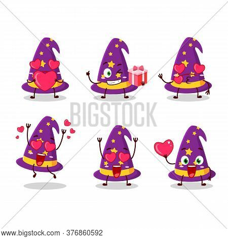 Wizard Hat Cartoon Charactr With Love Cute Emoticon