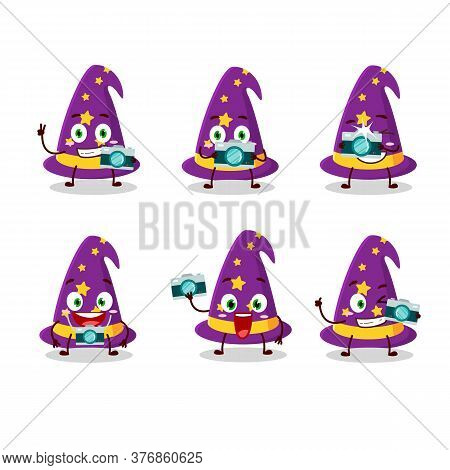 Photographer Profession Emoticon With Wizard Hat Cartoon Character