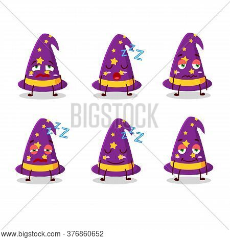 Cartoon Character Of Wizard Hat With Sleepy Expression