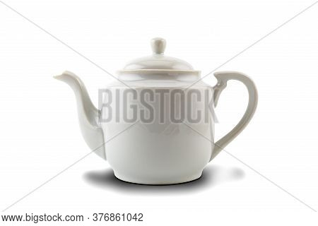 White Ceramic Tea Pot Isolated On White Background With Clipping Path.