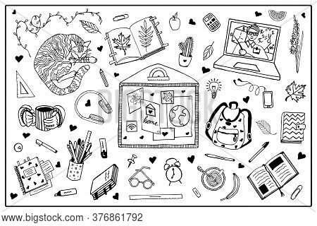 Big Set Vector Isolated Elements. Distance Learning, Home Schooling, Work At Home. Beginning Of The