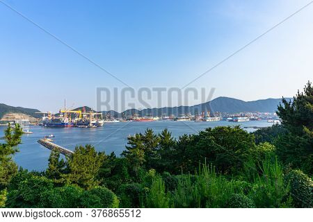 Geoje Island, South Korea - June 14, 2017 : Bay Of Daewoo Shipbuilding And Marine Engineering (dsme)