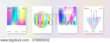 Holographic Flyer Set. Abstract Backgrounds. Plastic Holographic Flyer With Gradient Mesh. 90s, 80s