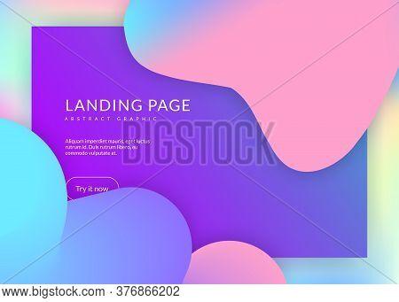 Liquid Fluid. Holographic 3d Backdrop With Modern Trendy Blend. Vivid Gradient Mesh. Cosmic Ui, Mobi