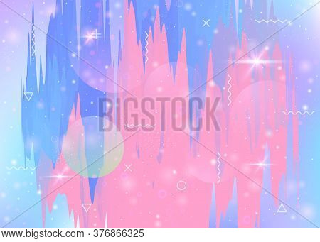 Future Landscape With Holographic Cosmos And Abstract Universe Background. Cute Mountain Silhouette