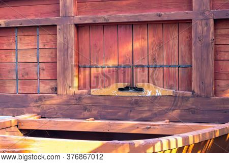 Old Traditional Cleat At The Stern Of Geobukseon Or Korean Traditional Turtle Warship.