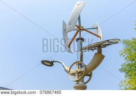 Wind Turbine And Solar Cell Energy Street Lamp In Gimhae, South Gyeongsang Province, South Korea.