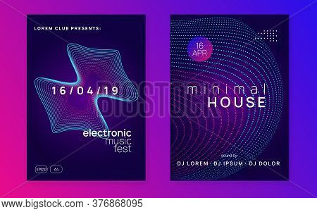 Electronic Party. Dynamic Gradient Shape And Line. Cool Discotheque Magazine Set. Neon Electronic Pa