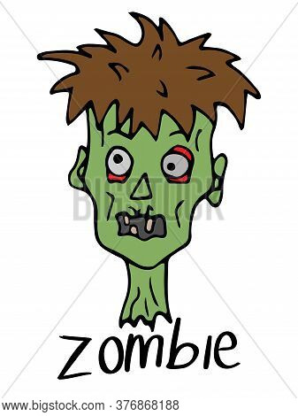 Zombie Head On A White Background. Character For Halloween In Doodle Style. Cartoon Zombie With An I