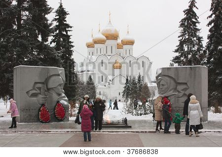 Tourists At Eternal Flame In Yaroslavl