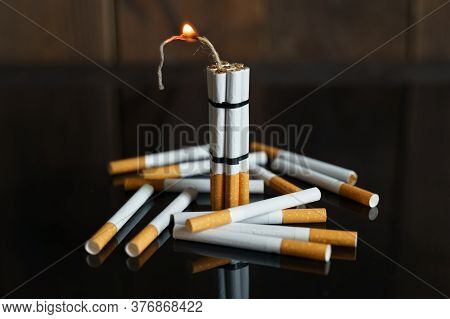 The Concept Of Medicine Is The Fight Against Smoking. Cigarettes, In The Form Of Sticks Of Dynamite