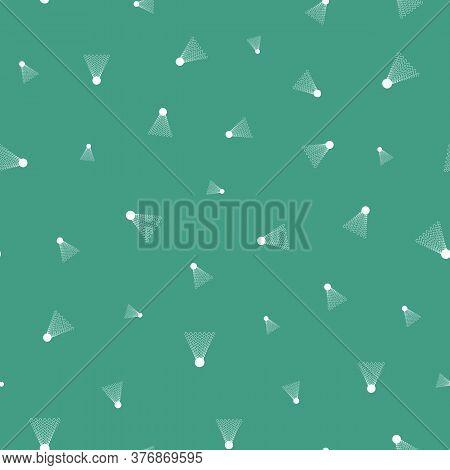 Simple Badminton Shuttles Seamless Vector Pattern On Teal. Unisex Surface Print Design For Fabrics,