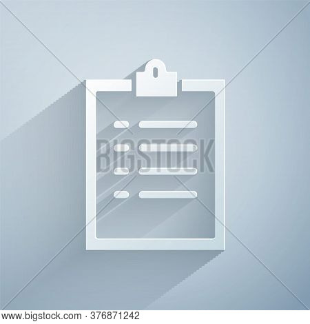 Paper Cut Clipboard With Checklist Icon Isolated On Grey Background. Control List Symbol. Survey Pol