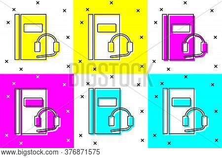 Set Audio Book Icon Isolated On Color Background. Book With Headphones. Audio Guide Sign. Online Lea