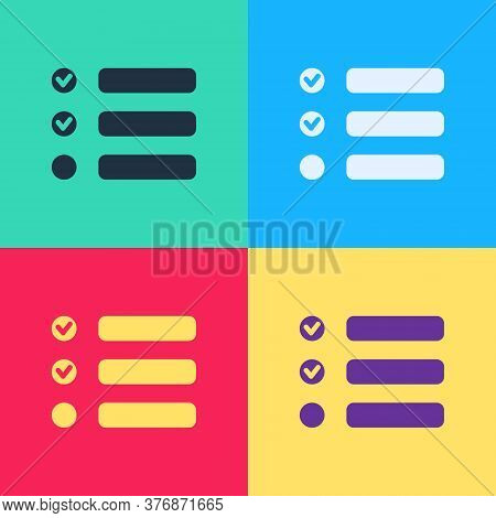 Pop Art Task List Icon Isolated On Color Background. Control List Symbol. Survey Poll Or Questionnai