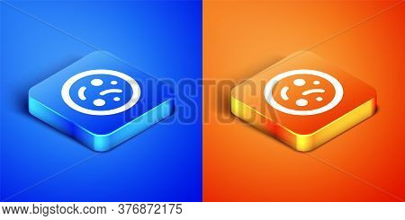 Isometric Bacteria Icon Isolated On Blue And Orange Background. Bacteria And Germs, Microorganism Di