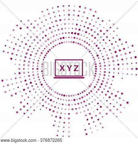 Purple Xyz Coordinate System On Chalkboard Icon Isolated On White Background. Xyz Axis For Graph Sta