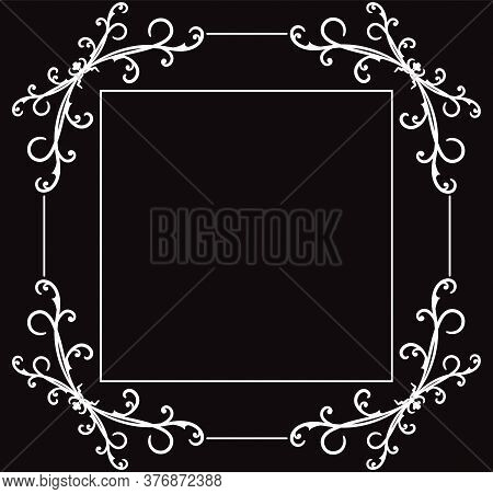 Vintage Page Decoration, Borders. Wicker Lines And Old Decor Elements. Luxury Vignette For Greeting