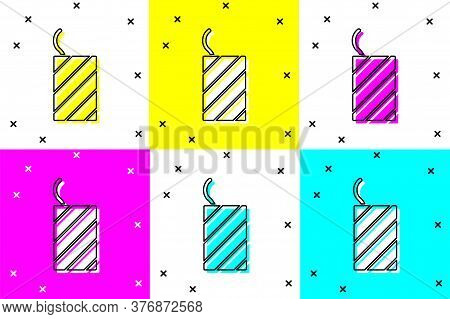 Set Firework Rocket Icon Isolated On Color Background. Concept Of Fun Party. Explosive Pyrotechnic S