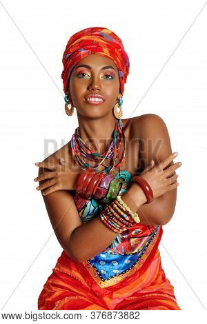 Portrait Of A Young And Attractive African American Black Woman In The National African Clothes Over