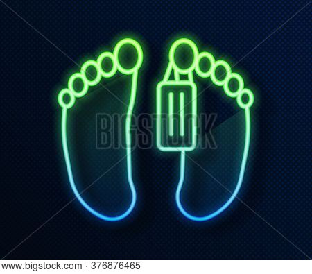 Glowing Neon Line Dead Body With An Identity Tag Attached In The Feet In A Morgue Of A Hospital Icon