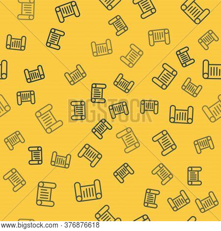 Blue Line Decree, Paper, Parchment, Scroll Icon Icon Isolated Seamless Pattern On Yellow Background.