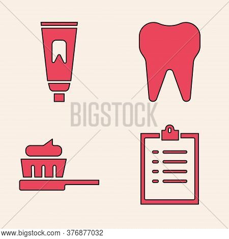 Set Clipboard With Checklist, Tube Of Toothpaste, Tooth And Toothbrush With Toothpaste Icon. Vector