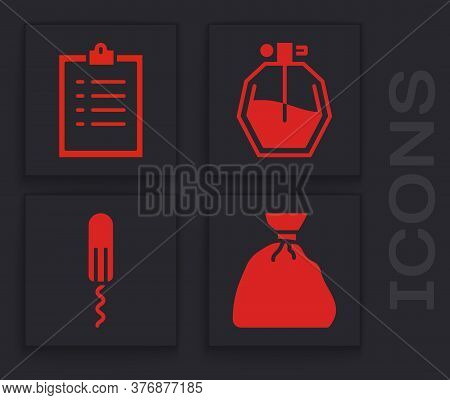 Set Garbage Bag, Clipboard With Checklist, Perfume And Sanitary Tampon Icon. Vector