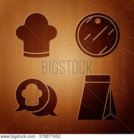 Set Bag Of Coffee Beans, Chef Hat, Chef Hat In Speech Bubble And Cutting Board On Wooden Background.