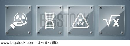 Set Square Root Of X Glyph, Triangle With Radiation, Dna Symbol And Radioactive. Square Glass Panels