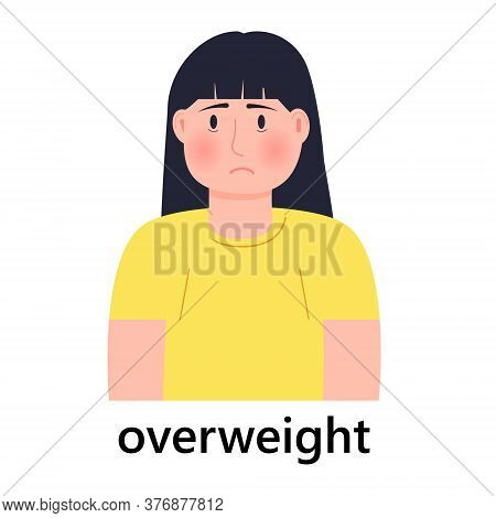 Overweight Girl Icon Vector. Unhappy Woman Is Fat. She S Worried About Being Overweight. Healthcare