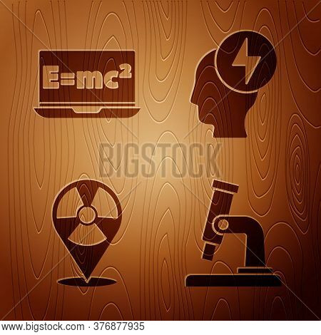 Set Microscope, Equation Solution, Radioactive In Location And Head And Electric Symbol On Wooden Ba