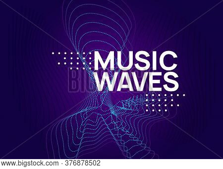 Music Poster. Dynamic Fluid Shape And Line. Bright Concert Magazine Design. Neon Music Poster. Elect