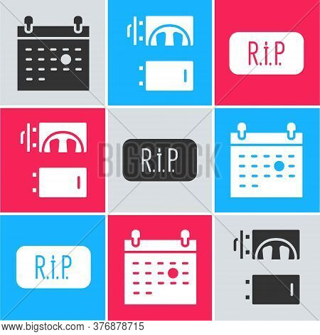 Set Calendar Death, Crematorium And Speech Bubble Rip Death Icon. Vector