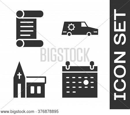 Set Calendar Death, Decree, Parchment, Scroll, Church Building And Hearse Car Icon. Vector