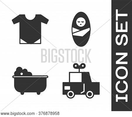 Set Toy Car, Baby Onesie, Baby Bathtub And Newborn Baby Infant Swaddled Icon. Vector
