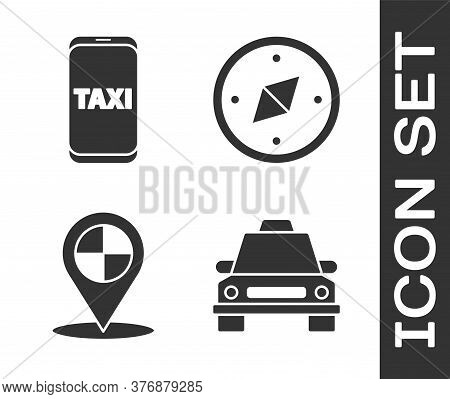 Set Taxi Car, Taxi Call Telephone Service, Map Pointer With Taxi And Compass Icon. Vector