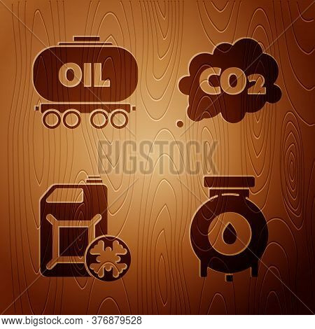 Set Oil And Gas Industrial Factory Building, Oil Railway Cistern, Antifreeze Canister And Co2 Emissi