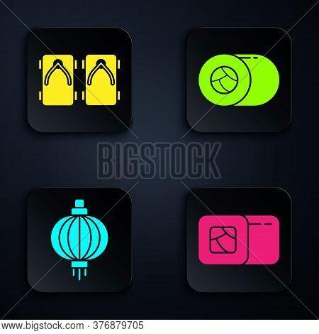 Set Sushi, Geta Traditional Japanese Shoes, Japanese Paper Lantern And Sushi. Black Square Button. V