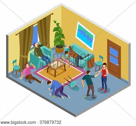Alcoholism Addiction Isometric Composition With Problem Uncontrollable Drinking Home People Fighting