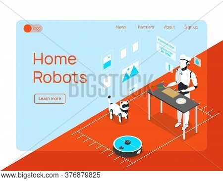 Smart Home Integrated Humanoid Household Assistant Cleaner And Animal Robots Isometric Landing Page