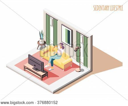 Sedentary Lifestyle Isometric Composition With Woman Character Sitting On Sofa With Domestic Interio