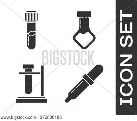 Set Pipette, Test Tube And Flask Chemical, Test Tube Flask On Stand And Test Tube And Flask Chemical