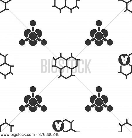 Set Chemical Formula, Chemical Formula And Bacteria On Seamless Pattern. Vector