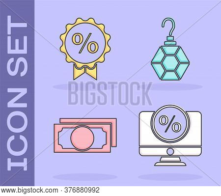 Set Percent Discount And Monitor, Discount Percent Tag, Stacks Paper Money Cash And Earring Icon. Ve