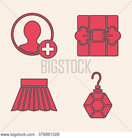 Set Earring, Create Account Screen, Gift Box And Skirt Icon. Vector